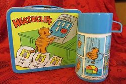 Collectible Heathcliff 1982 Aladdin Industries Vintage Metal Lunchbox And Thermos