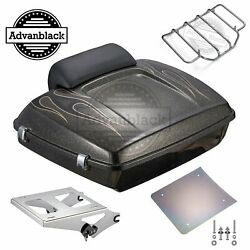Hard Candy Black Gold Flake Flames Razor Tour Pack Fits 97-20 Harley Touring