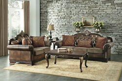 Awesome Antique Style Faux Leather And Fabric Tufted Sofa And Loveseat Furniture Set