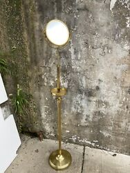 Antique Brass Double Vanity Make-up Extendable Floor Mirror With Valet Tray