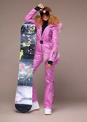 Pink Naumi Women Ski Suit With Hood And Mittens. Down Insulation Raccoon Fur