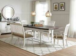Farmhouse Style 6pcs Dining Room Set Rectangular Table Banquette And Chairs Ic7g