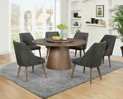 Modern 7pcs Dining Room Light Brown Round Table W. Lazy Susan And Chairs Set Ic7s