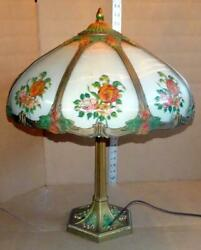 Antique Reverse Painted Table Lamp Vtg Polychrome Table Lamp W/ Bent Glass Shade