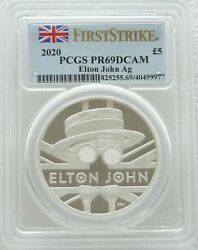 2020 Music Legends Elton John Andpound5 Silver Proof 2oz Coin Pcgs Pr69 First Strike