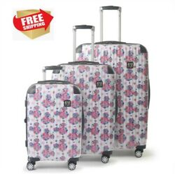 Ful Disney Minnie Mouse Floral Hardsided Rolling Luggage Suitcase 3 Piece Set