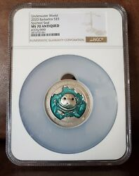 2020 Ngc Ms 70 3oz Silver 5 376/999 Barbados Spotted Seal Underwater World