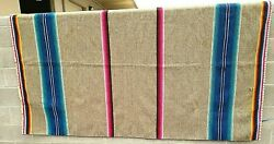 Thick Antique Vintage Wool Striped Camp Blanket South American 94 X 60