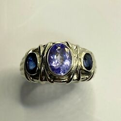 1.3ct Natural Tanzanite And Sapphires 925 Silver/ Gold / Platinum Unisex Ring