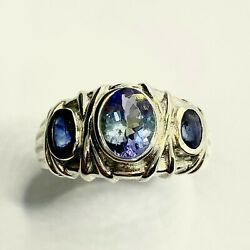 1.15ct Natural Tanzanite And Sapphires 925 Silver/ Gold / Platinum Unisex Ring