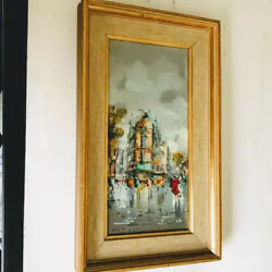 Original Mid Century Vintage Framed Acrylic Painting From Ny Furniture Store Sig