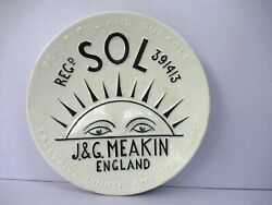 Antique Jandg Meakin England Sol Early 20thc Ceramic Wall Plate Rare Collectiblf2