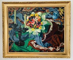 Huile / Toile G Guyot - Chandelier And Bouquet Fleurs - Oil Still Life - Grand 20f