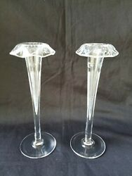 Antique Pair Victorian Etched Glass Trumpet Bud Vases 8 1/4 Tall Rolled Rims