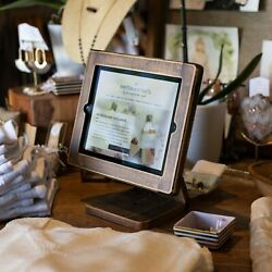 All Wood, Handmade Countertop Ipad Stand For Businesses Point Of Sale