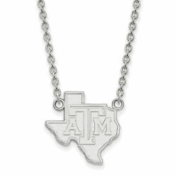 14k White Gold Texas Aandm Aggies School Letters On State Charm Pendant Necklace