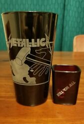 Metallica Kill Em All Etched Pint Glass And Etched Shot Glass