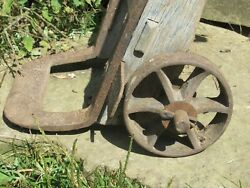 Antique Hand Truck Dolly Primitive Oak Industrial Cast Iron Wheels/ Forged Blade