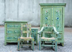 Hand-painted Miniature Wood Furniture Set Of 5 Early 20th Century Portuguese