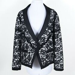 5650 Nwt Floral Lace Overlay Occasion Jacket Black White Fr 50 Us 2xl