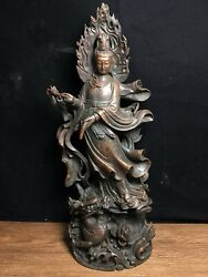 16.9 Antique Old Tibetan Buddhism Bronze Guanyin Statue Asian Collections