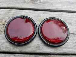 Pair Of Vintage Lucas St38 Tail Light Lenses With Bezel For Mg Ta Tb Tc