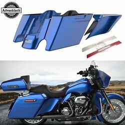 Superior Blue Stretched Saddlebag Side Covers Pinstripes For Harley Touring 14+