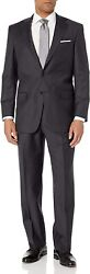 Hart Schaffner Marx Menand039s 2 Button Chicago Fit Suit With Single Pleat Pant