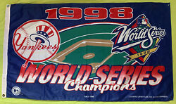 1998 New York Yankees Mlb World Series Champions Large Flag Banner 58x33 In
