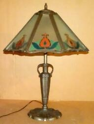 Antique Reverse Painted Table Lamp Base Vintage Table Lamp W/ Panel Glass Shade