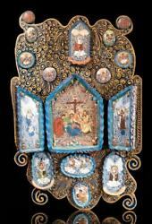 Mexican Retablo Of Jesus Descent From The Cross Tonala Clay And Wood