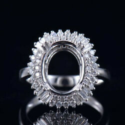Vintage Oval 11x9mm 14k White Gold Natural Diamond Semi Mount Engagement Ring