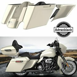 2 Into 1 Morocco Gold Pearl Stretched Saddlebag Side Covers For Harley 2014+