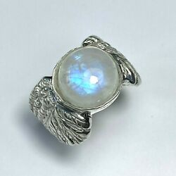 5.4ct Natural Rainbow Moonstone 925 Silver 9ct 14k 18k 375 585 Gold Unisex Ring