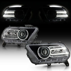 [dual Led Strip] Projector Headlight Lamp For 10-12 Ford Mustang Halogen Model