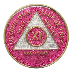11 Year Aa Coin Pink Glitter Sobriety Chip Alcoholics Anonymous Sober Medallion