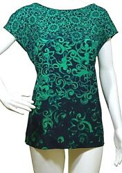 Stunning 100 Silk Boat Neck Blouse By Escada. Long Zipper At The Back. Slits