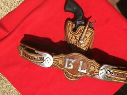 Vintage Outstanding Sterling Silver Pitiado Embroidered Holster Rig For Colt Saa