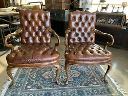 Vintage Leather Chairs Tufted Chesterfield Library Office By Cabot Wrenn A Pair