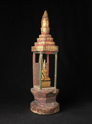 Antique Wooden Shine With Buddha Statue From Laos From Laos