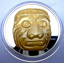 1985 Very Rare Silver Proof Medal With 24k Gold Plated Inca - Guardian Head