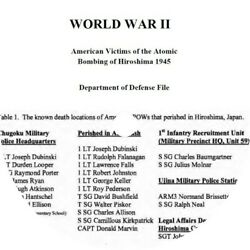 American Victims Of The Atomic Bombing Of Hiroshima - Dept Of Defense File