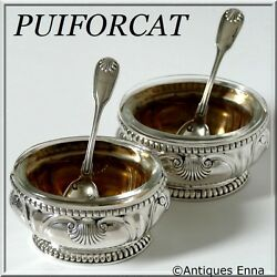 Puiforcat Gorgeous French Sterling Silver 18k Gold Salt Cellars Pair W/spoons