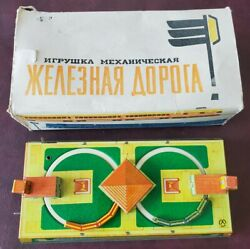 Vintage 60s Russian Tin Litho Windup Train/track Missing Key Tested And Working