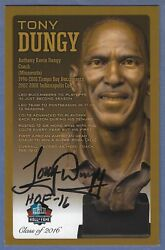 Tony Dungy Nfl Hall Of Fame 2016 Bronze Bust Signed Card /150 Bucs/colts Auto