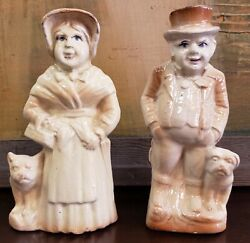 Mid 19th Cent. English Staffordshire Porcelain Man And Woman W/ Boston Terriers