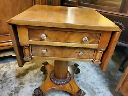 Antique Sewing Side Table - Drop Leaf / Claw Feet - Excellent