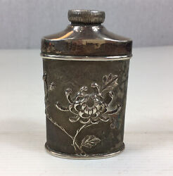 """Antique Chinese Silver """"bin Cere"""" Powder Flask Embossed Peony Decoration 10cm H"""