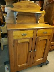 Antique Walnut Jelly Cabinet / Kitchen Server Cabinet W/ Hutch - Early Made Beau