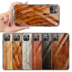 Luxury Wood Grain Tempered Glass Phone Case For Iphone 11 Pro Xs Max Xr X 8 7 6